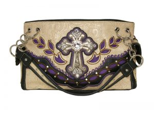 FASHION CONCEAL CARRY PURSE CROSS BEIGE/PURPLE/BLACK