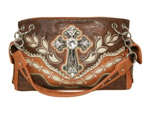 FASHION CONCEAL CARRY PURSE CROSS BROWN/BEIGE/L.BROWN