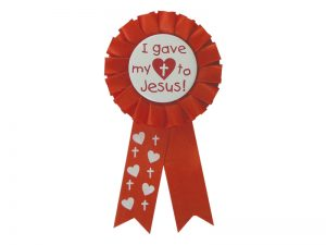 AWARD RIBBON BADGE HEART TO JESUS – PACK OF 3