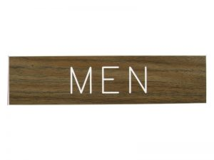 ENGRAVED SIGN MEN ADHESIVE BACK WALNUT