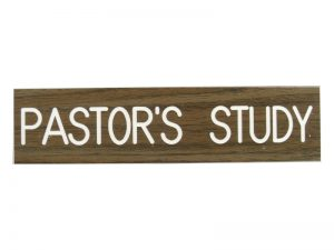 ENGRAVED SIGN PASTORS STUDY ADHESIVE BACK WALNUT