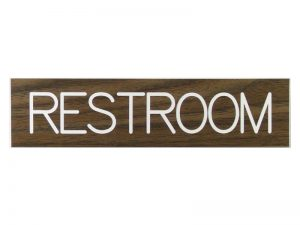 ENGRAVED SIGN RESTROOM ADHESIVE BACK WALNUT