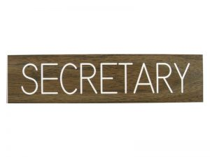 ENGRAVED SIGN SECRETARY ADHESIVE BACK WALNUT