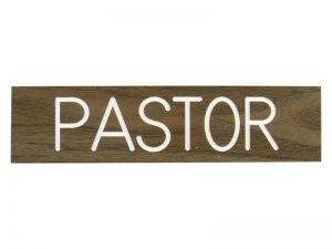 ENGRAVED SIGN PASTOR ADHESIVE BACK WALNUT