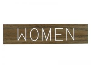 ENGRAVED SIGN WOMEN ADHESIVE BACK WALNUT