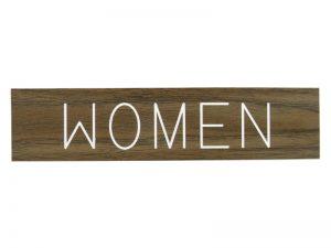 ENGRAVED SIGN WOMEN ADHESIVE BACK WALNUT