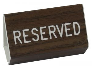 ENGRAVED PEW SIGN RESERVED WALNUT 3 X 4