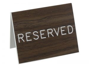 ENGRAVED SIGN TABLE TOP RESERVED WALNUT 3inX4in