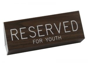 ENGRAVED PEW SIGN RESERVED FOR YOUTH WALNUT 3 X 6