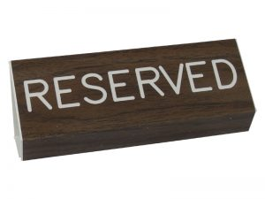 ENGRAVED PEW SIGN RESERVED WALNUT 3 X 6