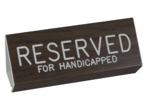 ENGRAVED PEW SIGN RESERVED FOR HANDICAPPED WALNUT 3 X 6