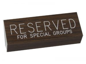 ENGRAVED PEW SIGN RESERVED FOR SPECIAL GROUPS WALNUT 3 X 6