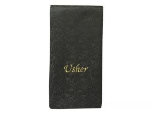 PEW SASH  USHER BLACK W/GOLD LETTERS