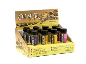 ANOINTING OIL BEST SELLER DISPLAY PK12 (5 UNSCENTED 5 FRANK/MYRRH 2 ROSE OF SHARON)