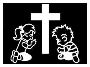 WINDOW DECAL BOY & GIRL AT CROSS