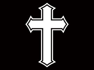 AUTO VINYL DECAL CROSS WHITE 4inX6in