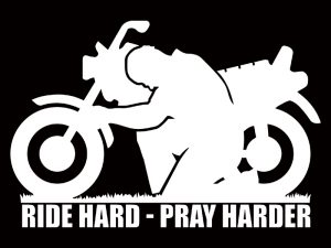AUTO VINYL DECAL RIDE HARD-PRAY HARDER WHITE 6inX4in