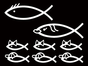AUTO VINYL DECAL CHRISTIAN FISH FAMILY