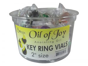 KEY RING OIL OF JOY VIAL DISPLAY ASSORTED COLORS 2 INCH SMALL PK18