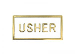 BADGE USHER PLASTIC BLACK/GOLD PK24