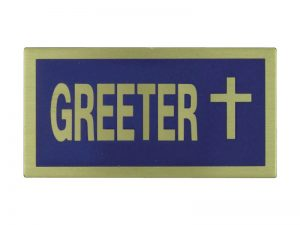 BADGE GREETER BLUE/GOLD