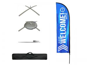 FLAG WELCOME BLUE POLE KIT W CASE