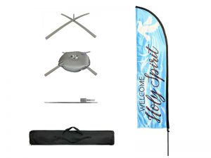 FLAG WELCOME HOLY SPIRIT LIGHT BLUE POLE KIT W CASE
