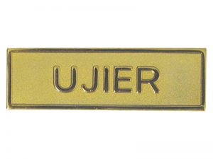 BADGE METAL SPANISH UJIER / USHER GOLDTONE PIN