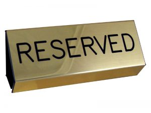 ENGRAVED PEW SIGN RESERVED GOLD 3inX6in