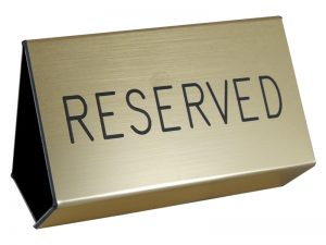 ENGRAVED PEW SIGN RESERVED GOLD 3inX4in