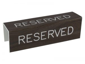 ENGRAVED PEW SIGN RESERVED 3 SIDED WALNUT 7inX2inX2in