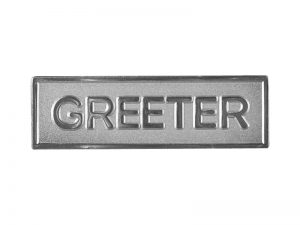 BADGE GREETER METAL SILVERTONE MAGNET
