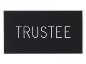BADGE ENGRAVED TRUSTEE BLACK MAGNET