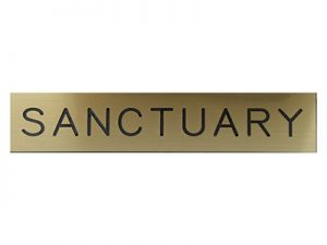 ENGRAVED SIGN SANCTUARY ADHESIVE BACK GOLD