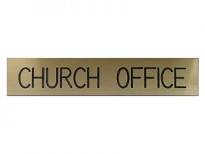 ENGRAVED SIGN CHURCH OFFICE ADHESIVE BACK GOLD