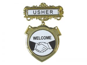 BADGE SHIELD USHER SHAKING HANDS PIN