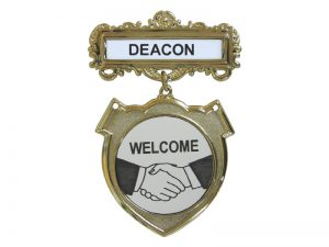 BADGE SHIELD DEACON SHAKING HANDS PIN