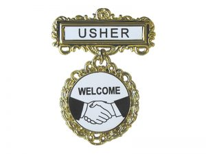 BADGE FANCY ROUND USHER SHAKING HANDS PIN