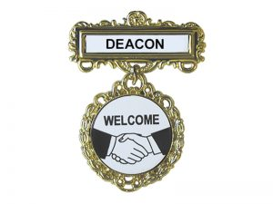 BADGE FANCY ROUND DEACON SHAKING HANDS PIN