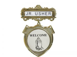 BADGE SHIELD JR. USHER PRAYING HANDS WELCOME PIN