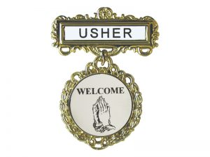 BADGE FANCY ROUND USHER PRAYING HANDS WELCOME PIN