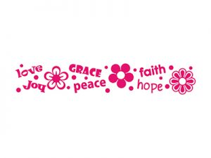 AUTO VINYL DECAL LOVE GRACE DAISY PINK