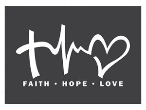 AUTO VINYL DECAL FAITH HOPE LOVE WHITE 6.5inX3.5in