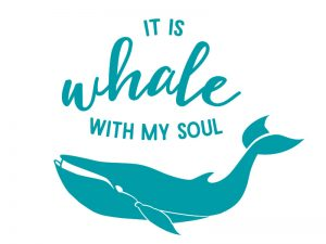 MULTI-PURPOSE DECAL WHALE WITH MY SOUL TEAL 4inX4in