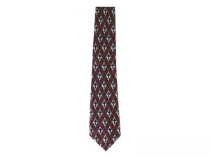 TIE POLYESTER DIAMOND CROSS BURGUNDY
