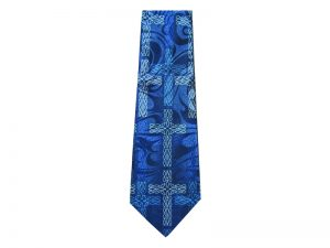 TIE POLYESTER CROSS FISH BLUE