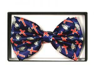BOW TIE RED/BLUE CROSSES