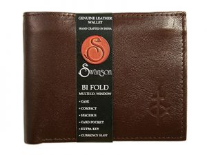 WALLET BI FOLD W/ CENTER FLAP LEATHER BROWN