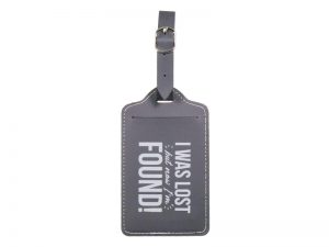 LUGGAGE TAG LEATHERETTE LOST N FOUND GREY