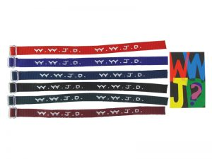 BRACELET WOVEN WWJD ASSORTED COLORS W/ CARD PK12